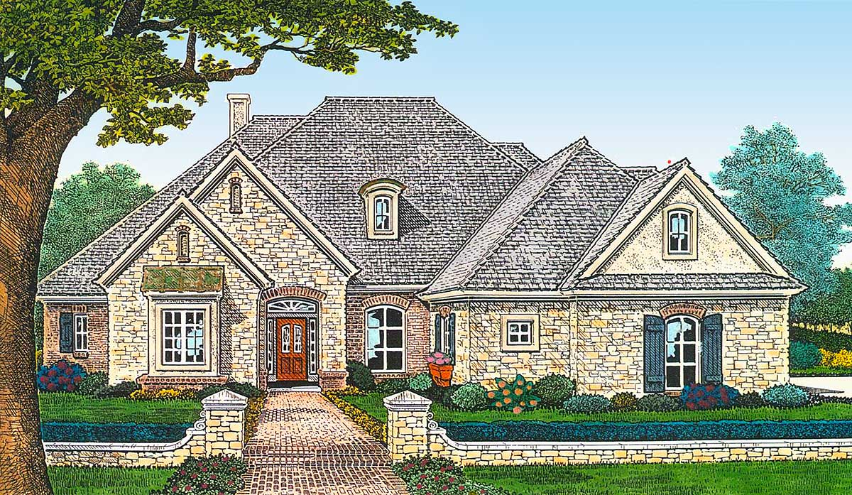 3 bed french country house plan with 3 car garage and for Country garage plans