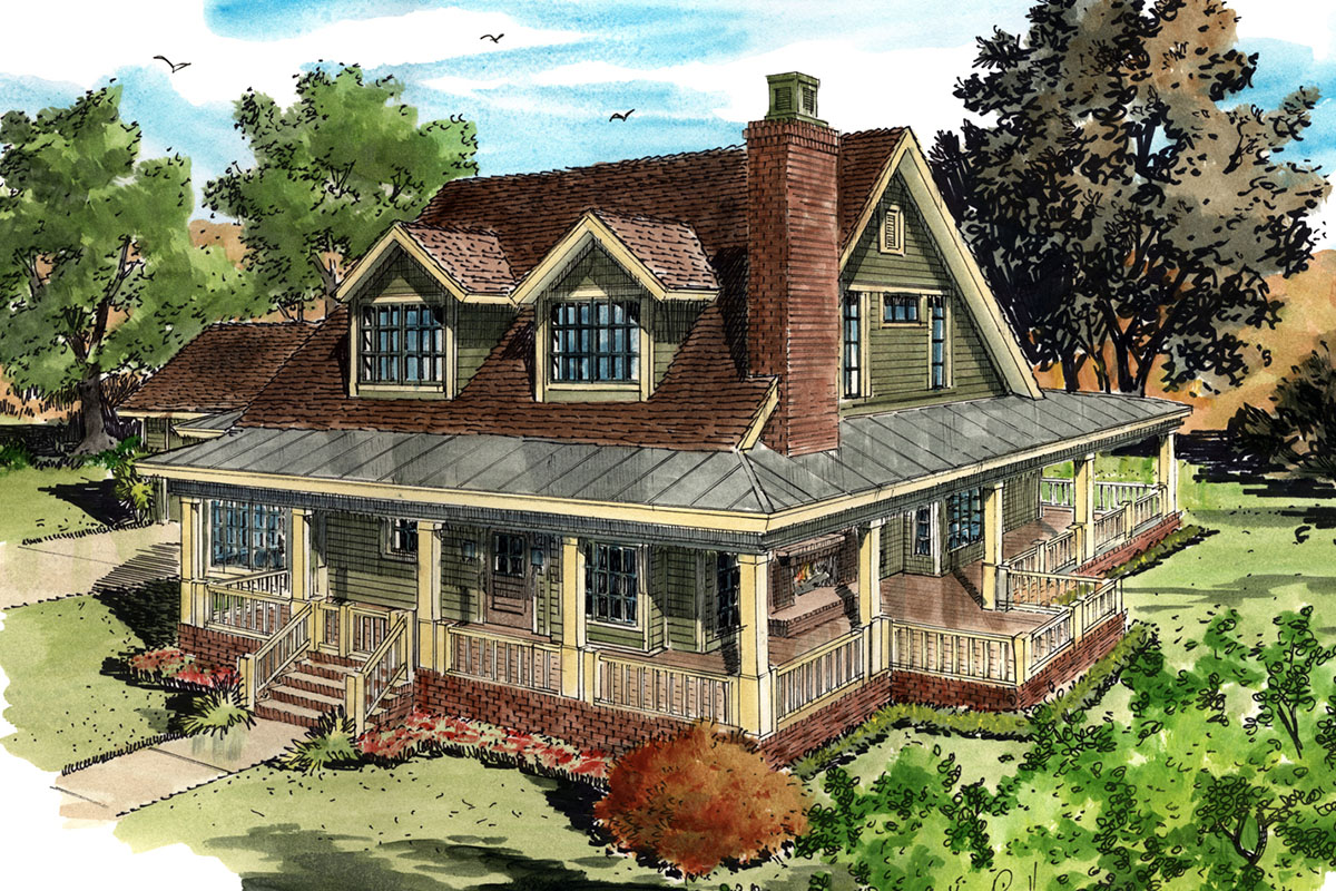 Classic country farmhouse house plan 12954kn for House lans