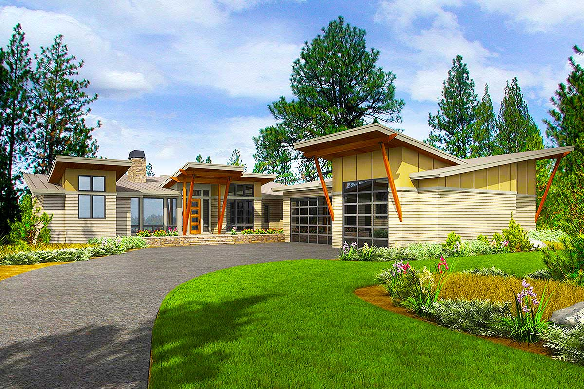 Houzify Home Design Ideas: Stunning Modern House Plan With Deck And Vaulted Porch In