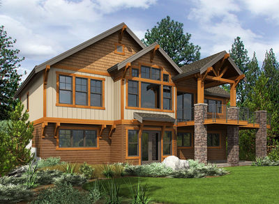 4 Bed Rugged Craftsman with Vaulted Foyer and Great Room - 23679JD thumb - 02