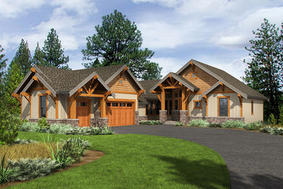 4 Bed Rugged Craftsman with Vaulted Foyer and Great Room - 23679JD thumb - 01