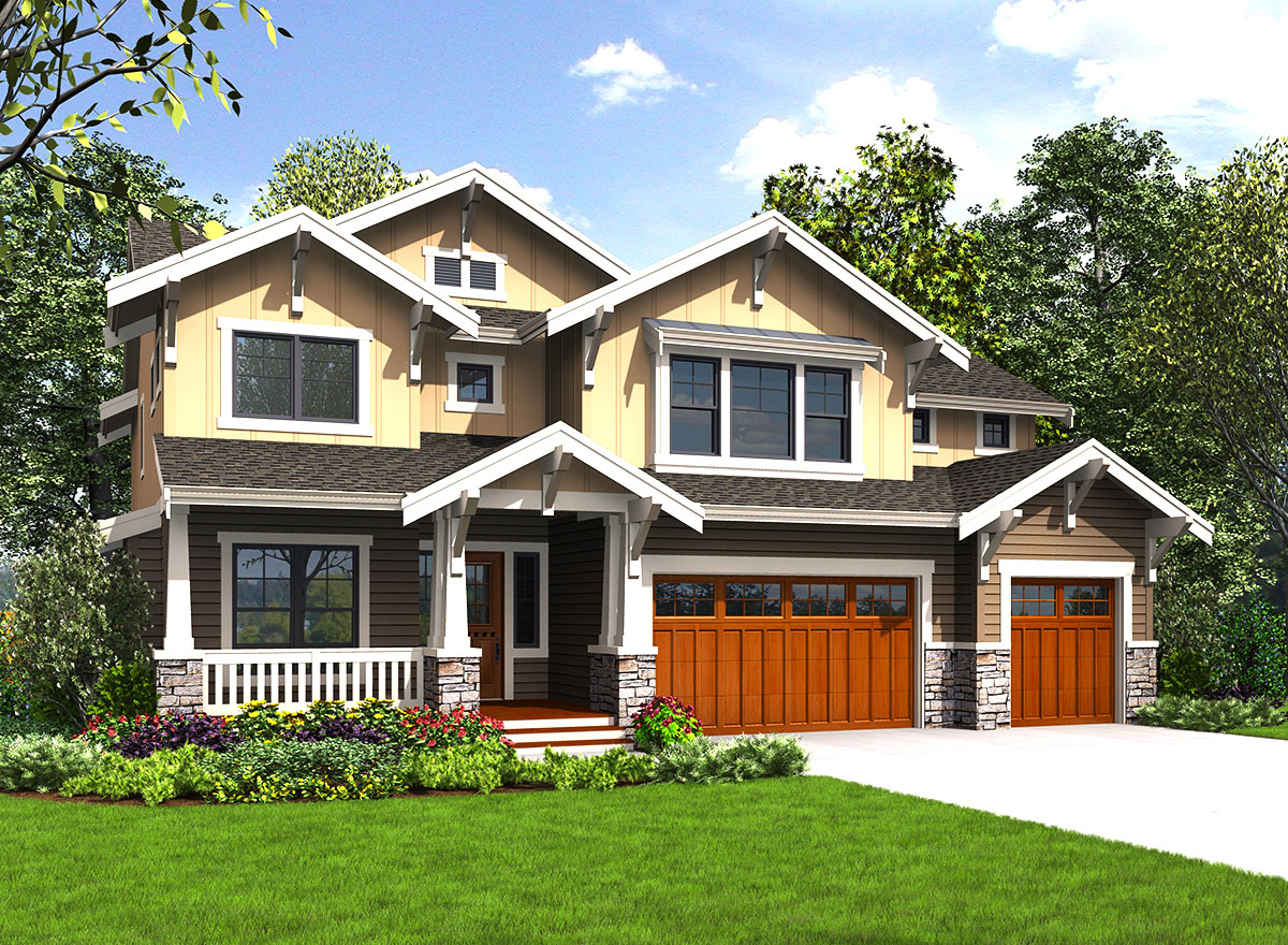 4 or 5 bed craftsman house plan with upstairs laundry for Upstairs house plans