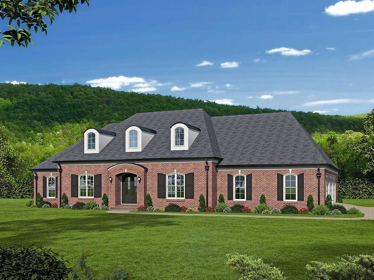 Brick beauty with 2 master suites 68463vr for House plans with 3 master suites