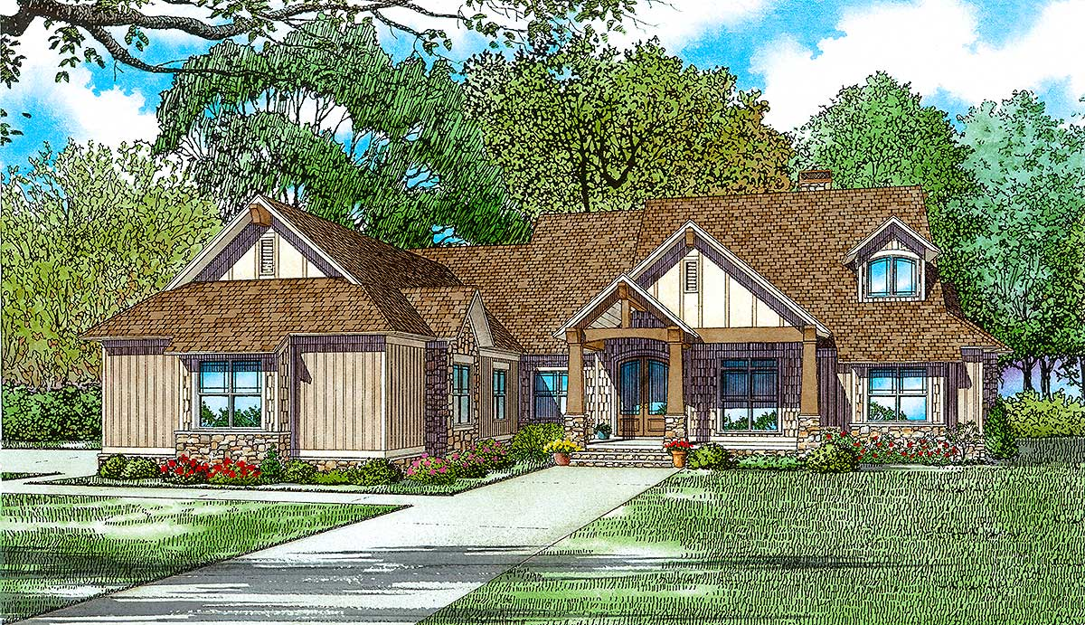 Rustic 5 bed house plan for a rear sloping lot 60700nd for House plans for sloping lots in the rear