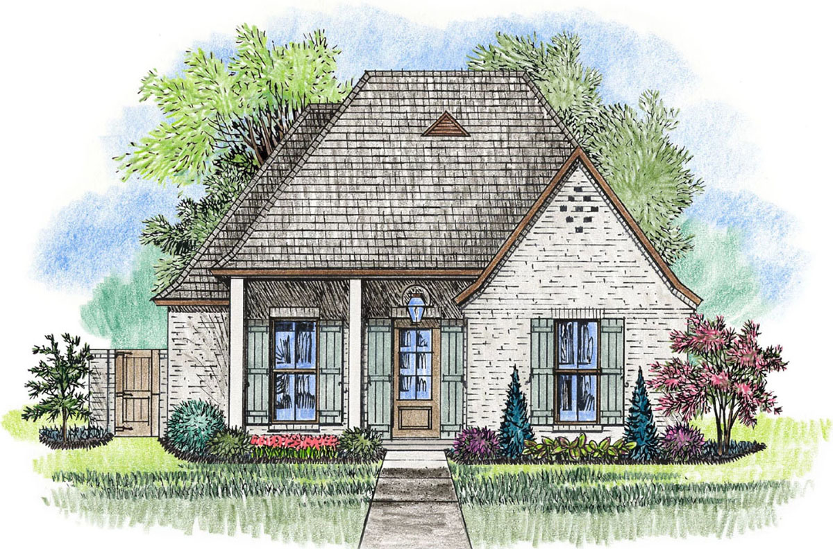 Acadian House Plan With Alley Access Garage   56415SM