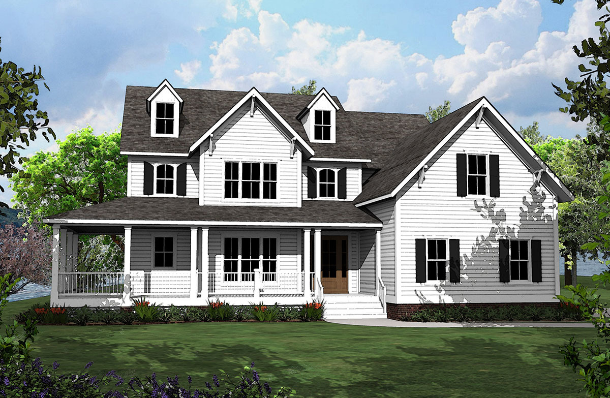 4 bed country house plan with l shaped porch 500008vv for Country farmhouse plans