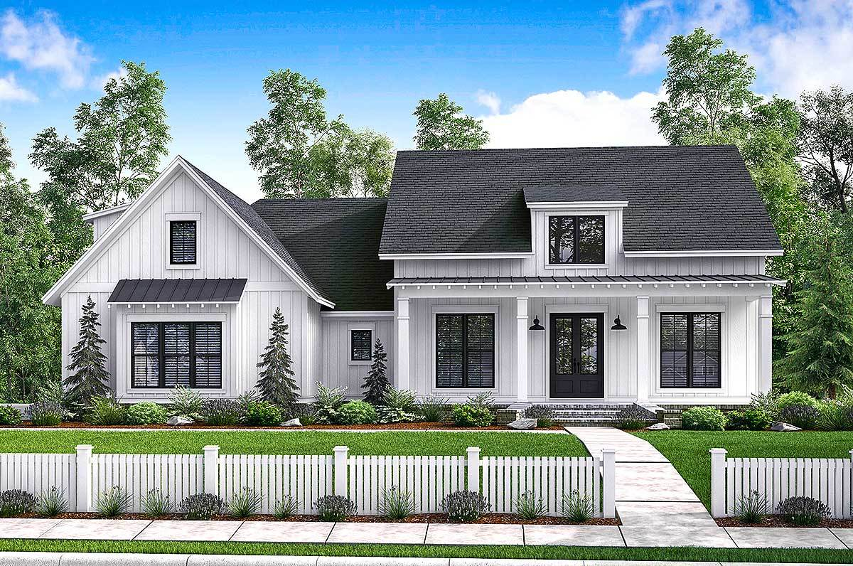 Budget friendly modern farmhouse plan with bonus room for Home plans farmhouse
