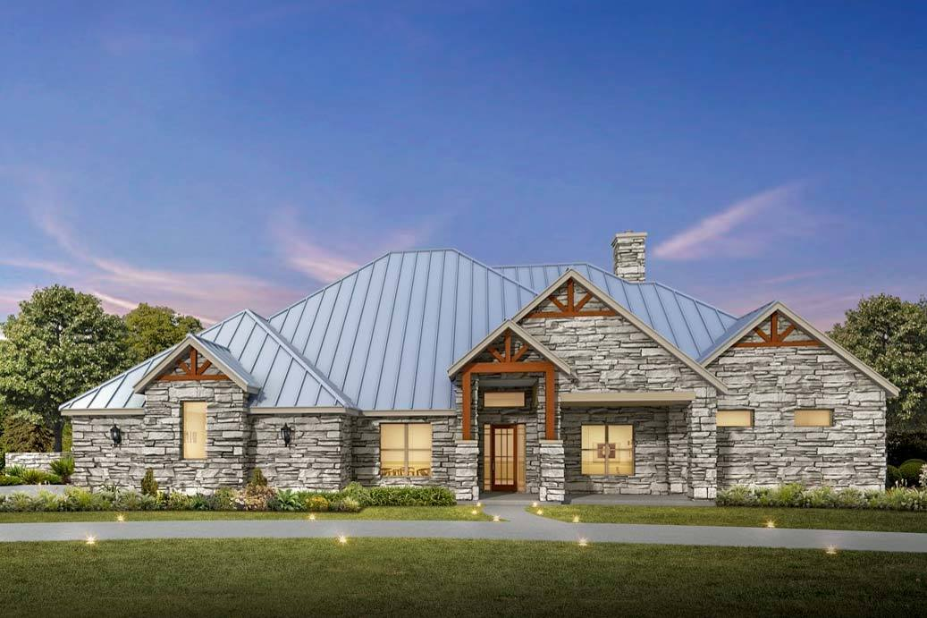 4 bed hill country ranch house plan with stone exterior for Hill country ranch home plans