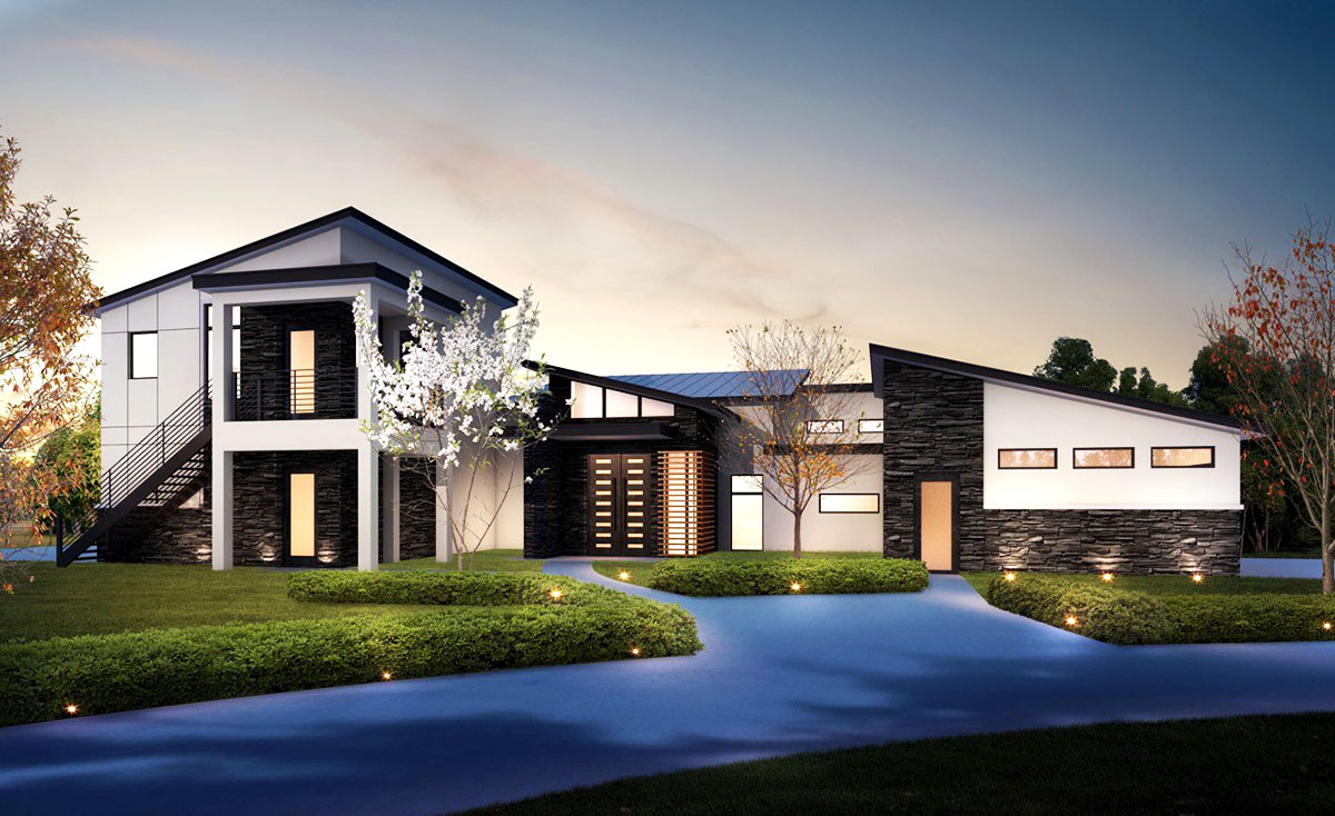 4 bed modern house plan with upstairs in law suite for Upstairs house plans