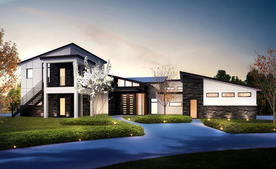 4 Bed Modern House Plan with Upstairs InLaw Suite 430006LY
