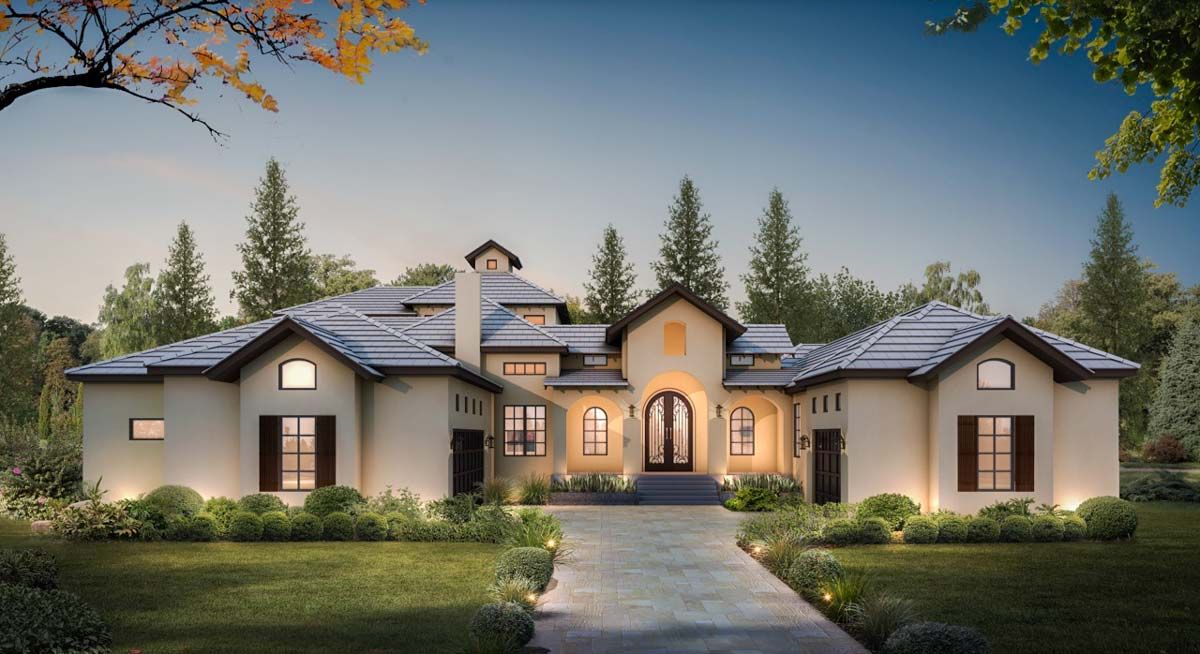 Courtyard  Entry 4 Bed House  Plan  with Upstairs Game Room