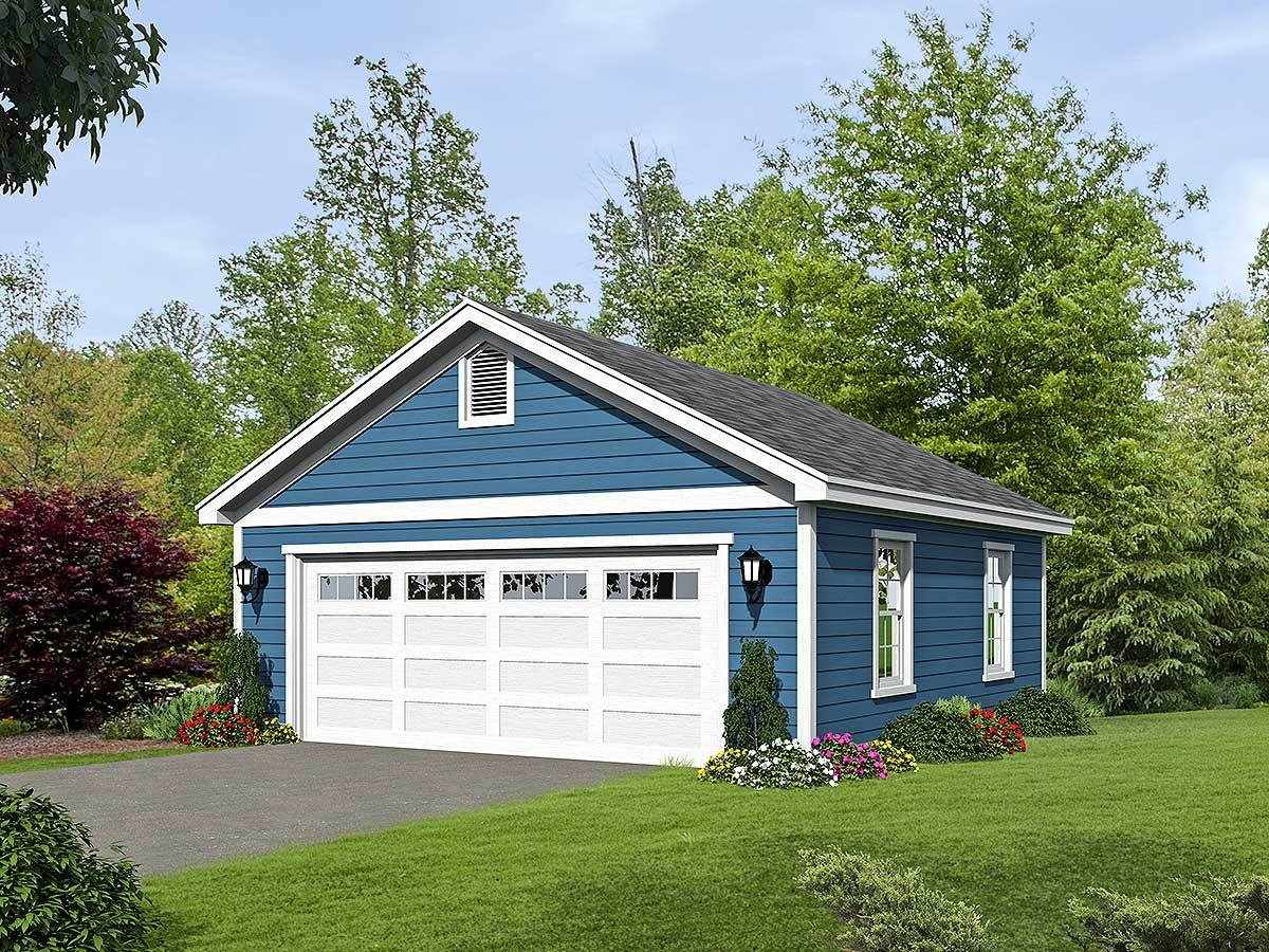 2 car detached garage plan with over sized garage door for Single car detached garage plans