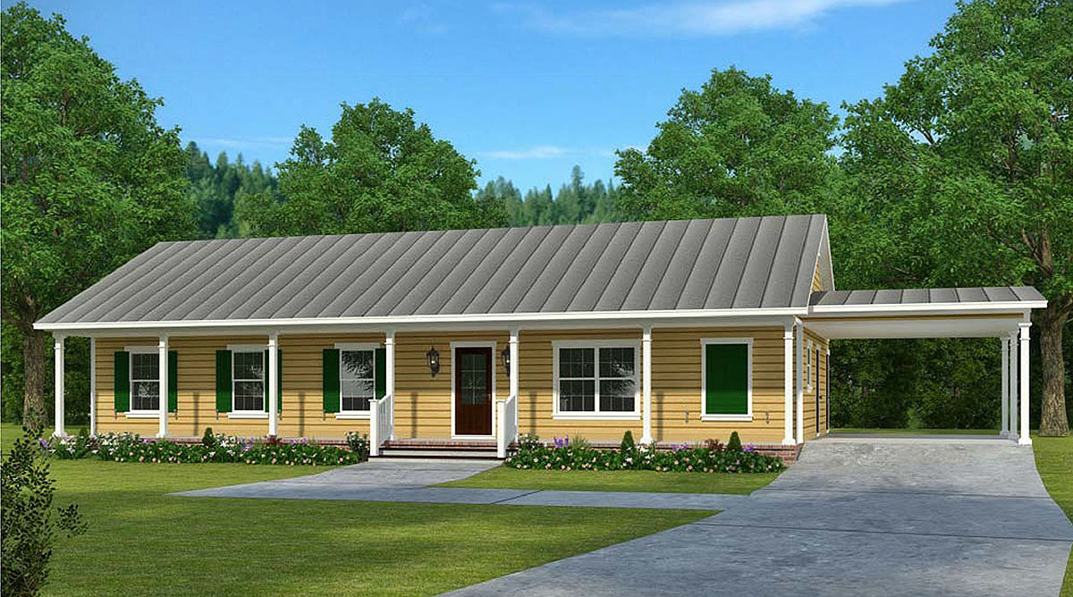 economical ranch house plan with carport