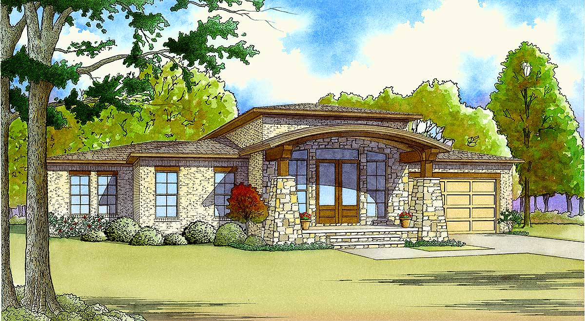 Brick and stone house plan with arched porch roof for Stone house floor plans