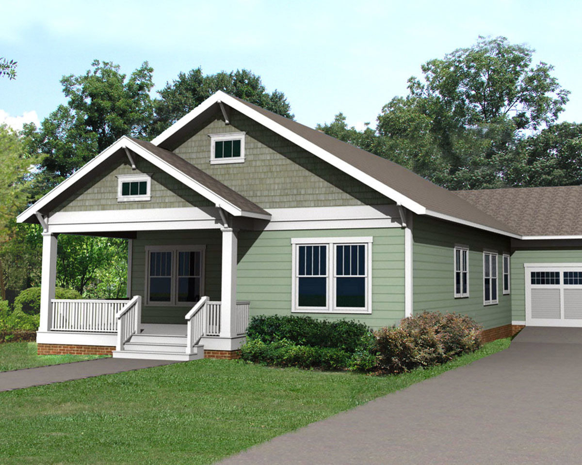 Cozy bungalow with attached garage 50132ph for Architectural designs for bungalows