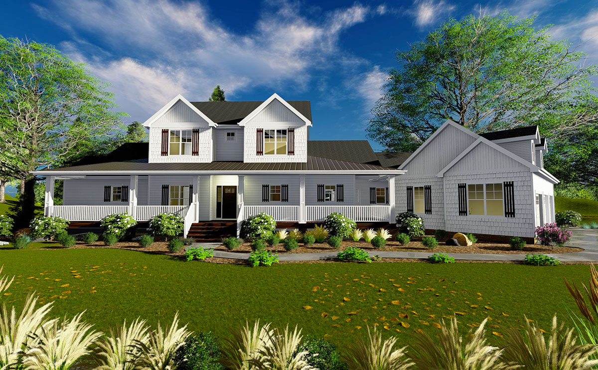 Four Bed Modern Farmhouse Plan with Loft - 62663DJ ...