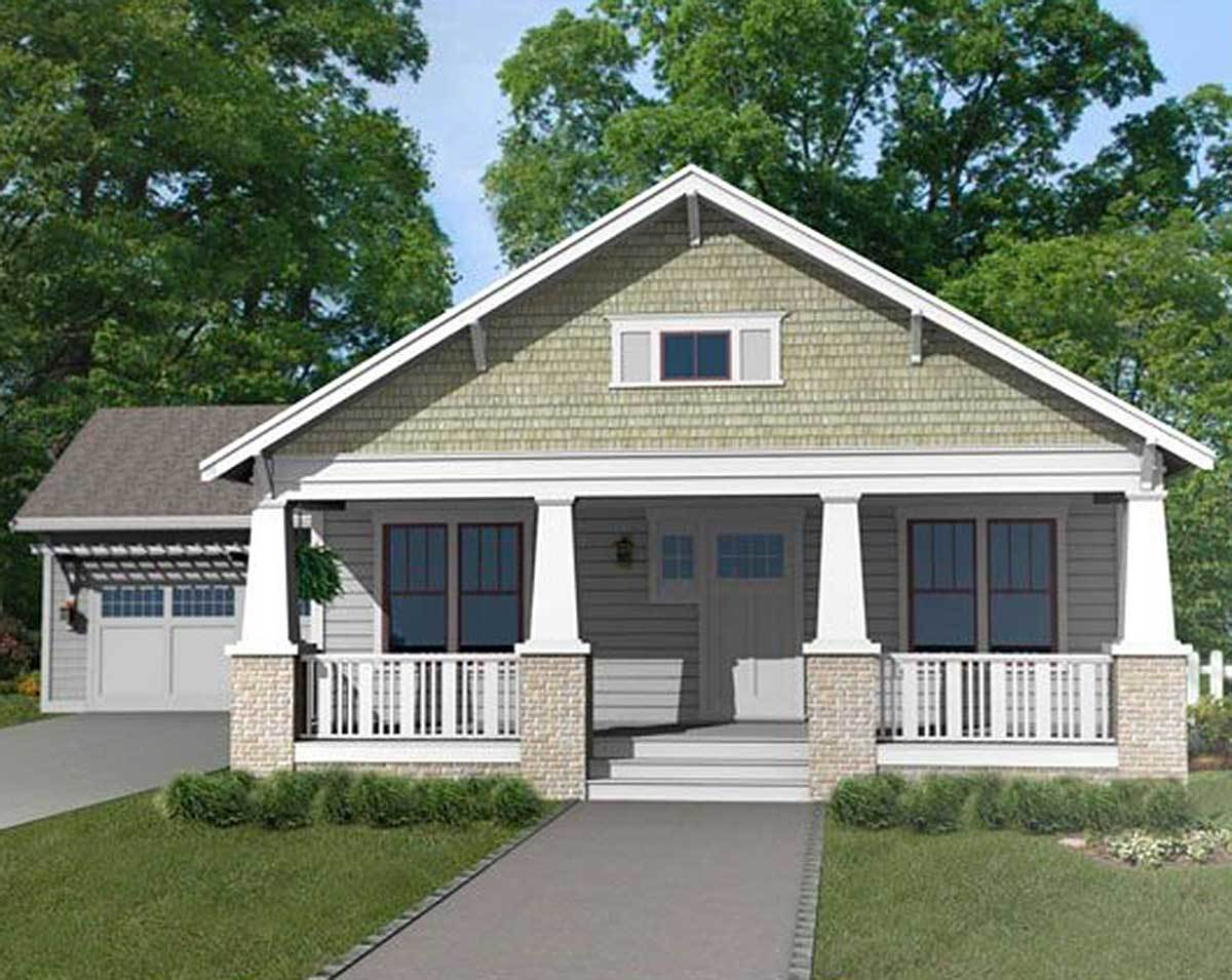 Craftsman bungalow with attached garage 50133ph - Bungalow house plans with attached garage ...