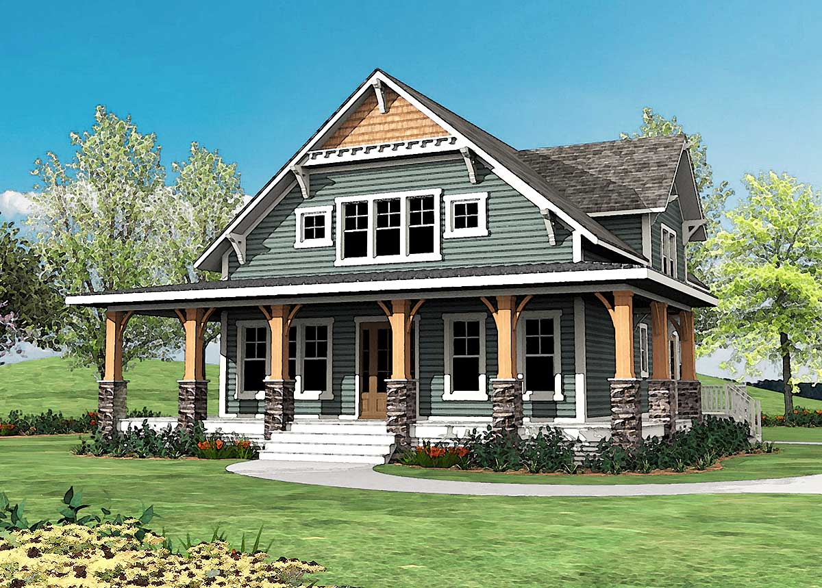 craftsman with wrap around porch 500015vv
