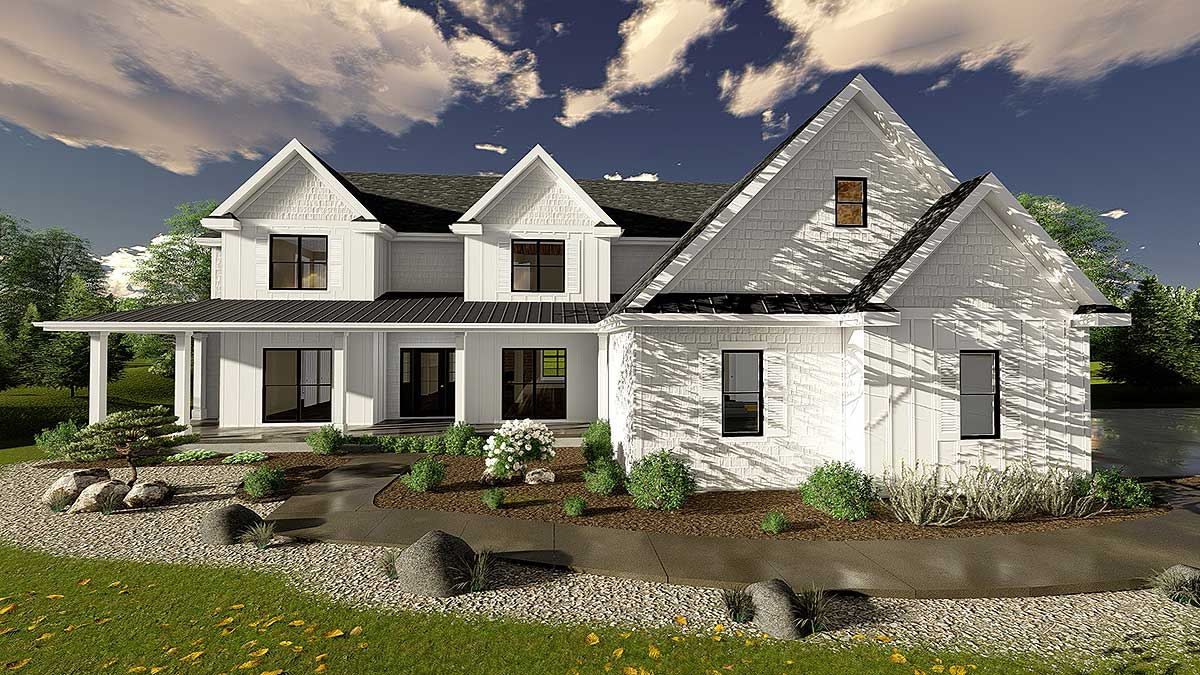 5 bedroom modern farmhouse plan 62665dj architectural for 5 bedroom modern farmhouse plans