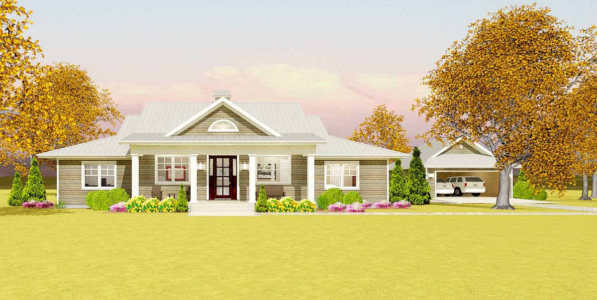 Flexible Country Plan With Detached Garage 28911jj