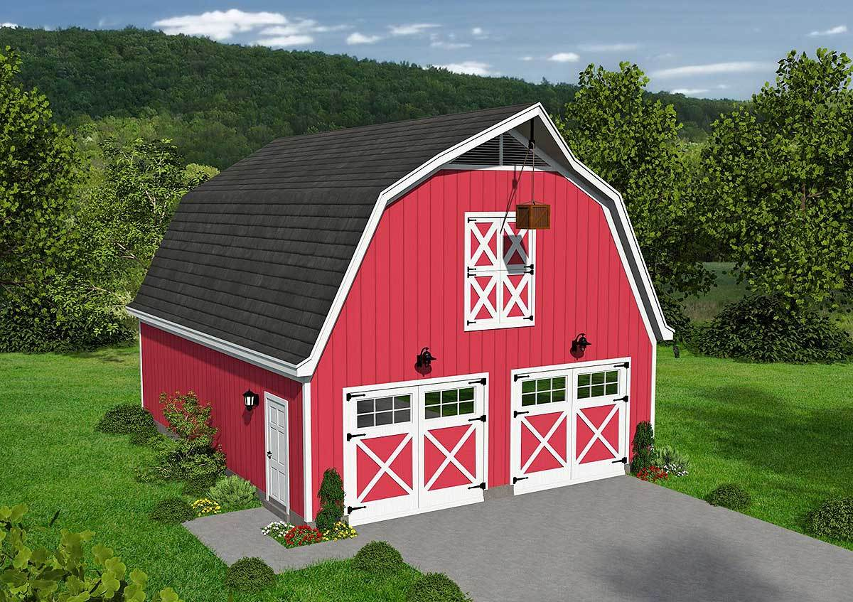 Classic barn style garage with loft 68477vr for Gambrel barn homes kits