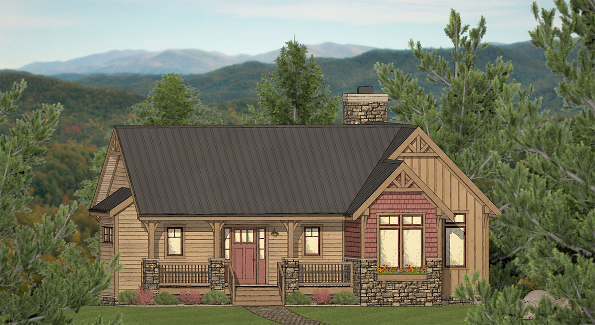 Three Bed Exclusive Mountain Home Plan With Open Concept