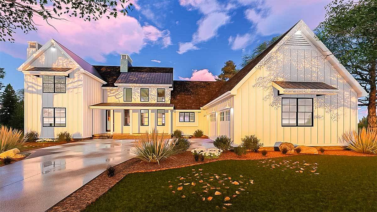 Five bedroom modern farmhouse with in law suite 62666dj for 5 bedroom modern farmhouse plans