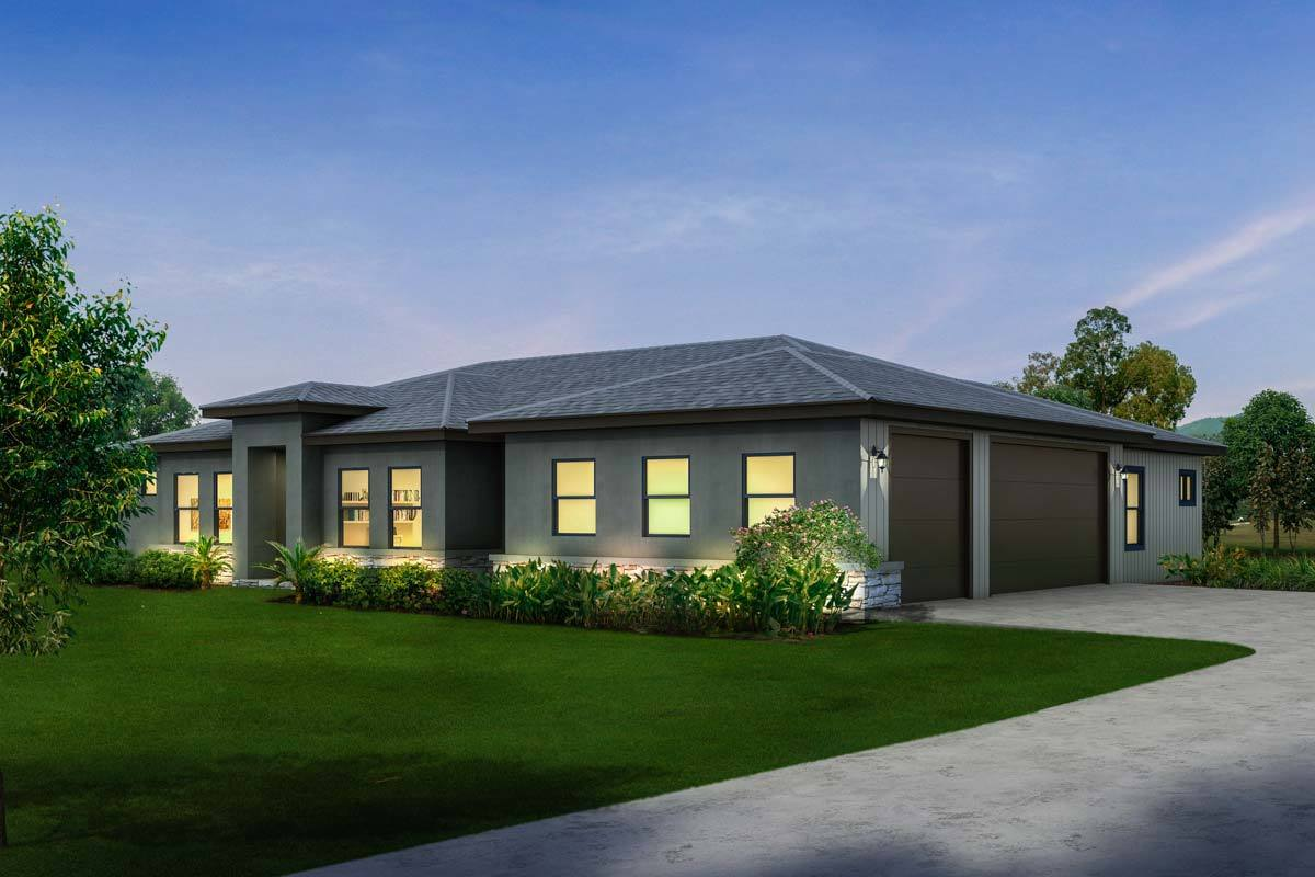 Contemporary ranch with 3 car side load garage 430016ly for 3 car garage ranch home plans