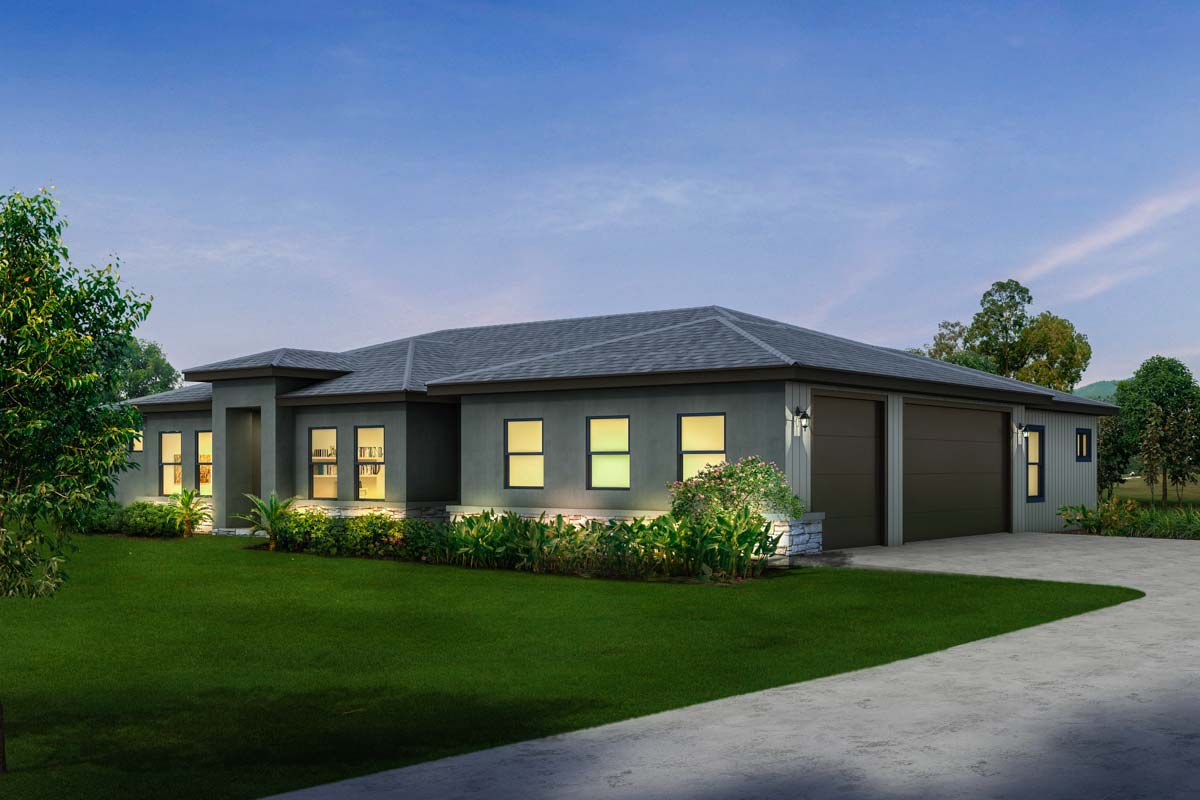 Contemporary ranch with 3 car side load garage 430016ly for Side load garage house plans