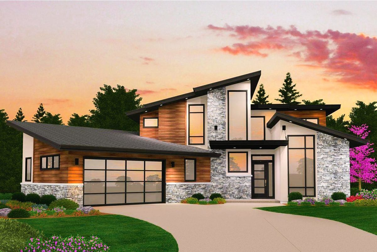Dynamic 4 bed modern house plan with vaulted spaces - Modern architectural designs floor plans ...