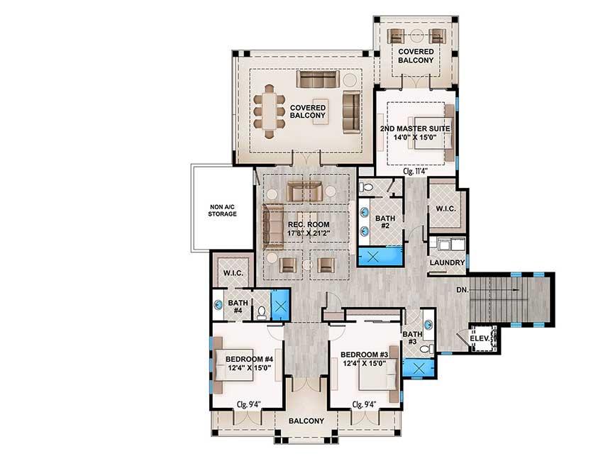 House Design Ideas Floor Plans: Spacious Tropical House Plan - 86051BW