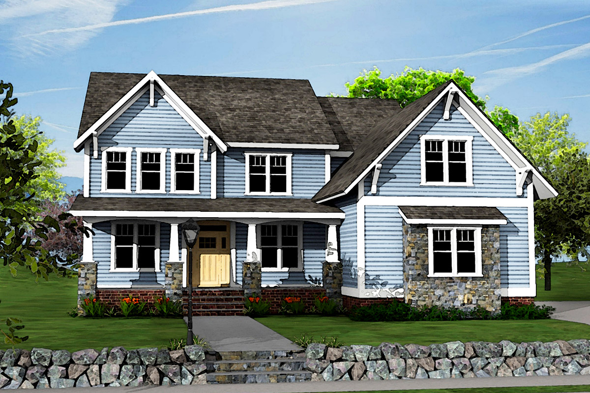 Two story craftsman house plan with optional bonus room for Two story craftsman