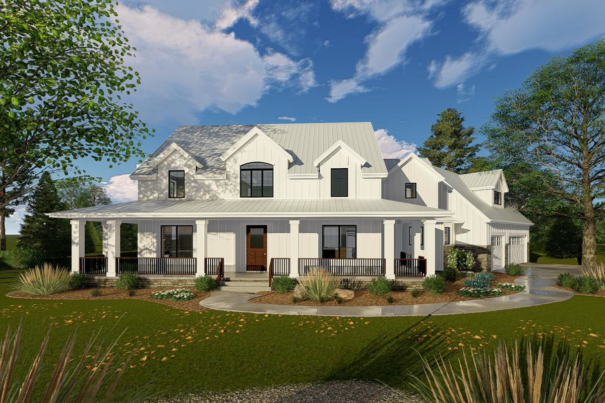 Modern farmhouse with angled 3 car garage 62668dj for 2 story farmhouse