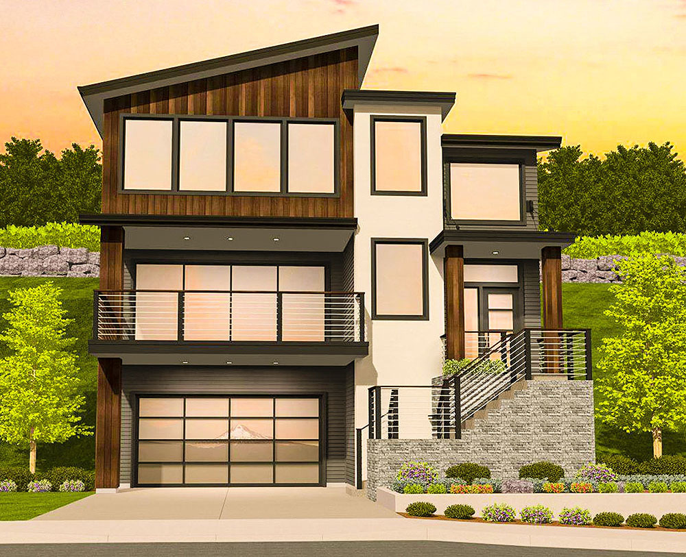 Modern house plan for a sloping lot 85184ms for Narrow sloped lot house plans