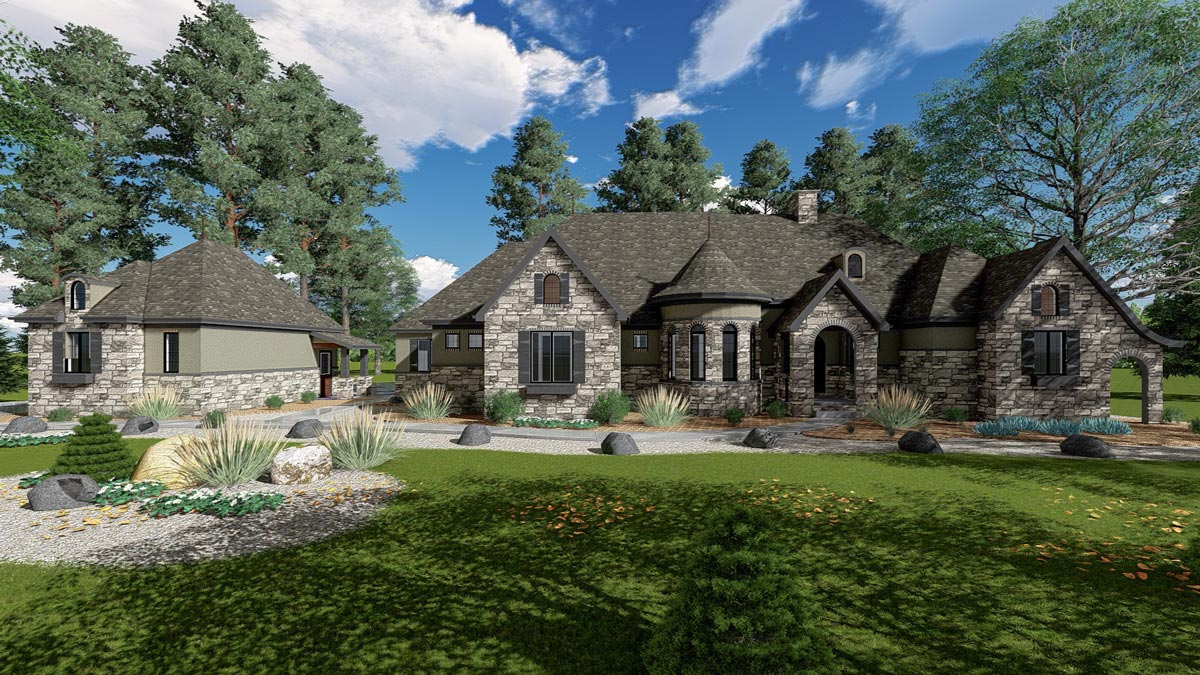 One Story European House Plan With Turret 62676dj