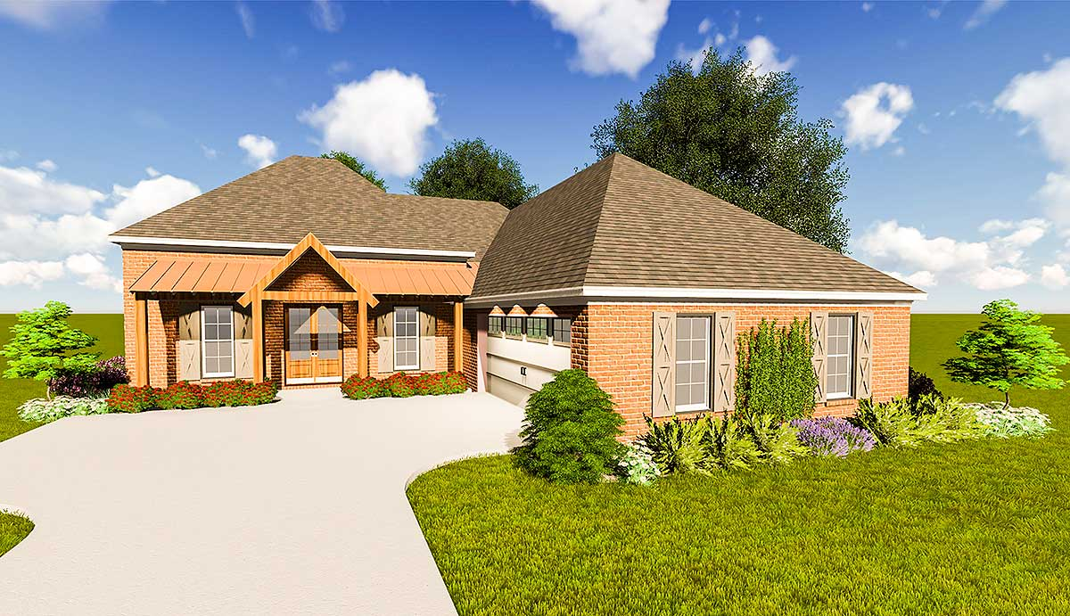 Southern acadian house plan with split bedroom layout for House plans with split bedroom layout