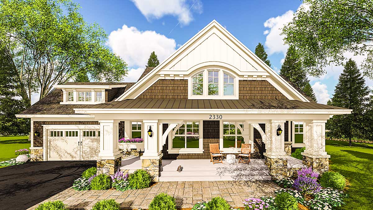 Craftsman House Plan with Two Large Porches - 14655RK ... on Large Back Porch Ideas id=57032
