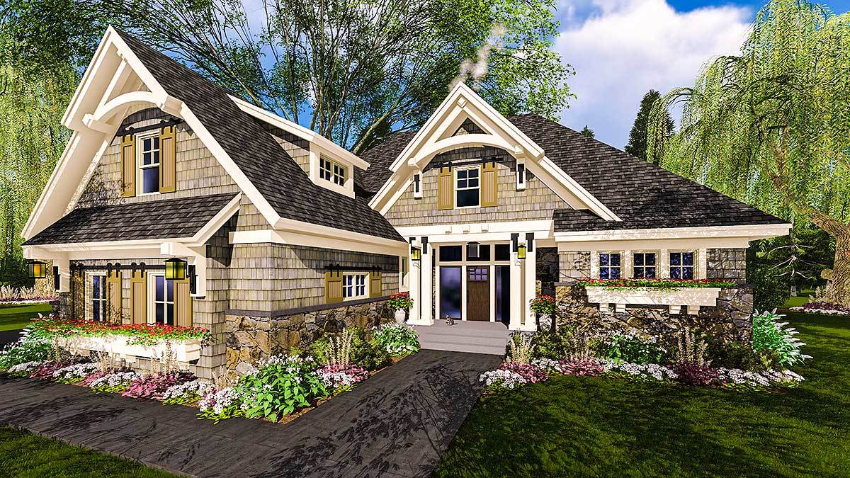 Highly Detailed Craftsman Home Plan With Bonus Suite Over