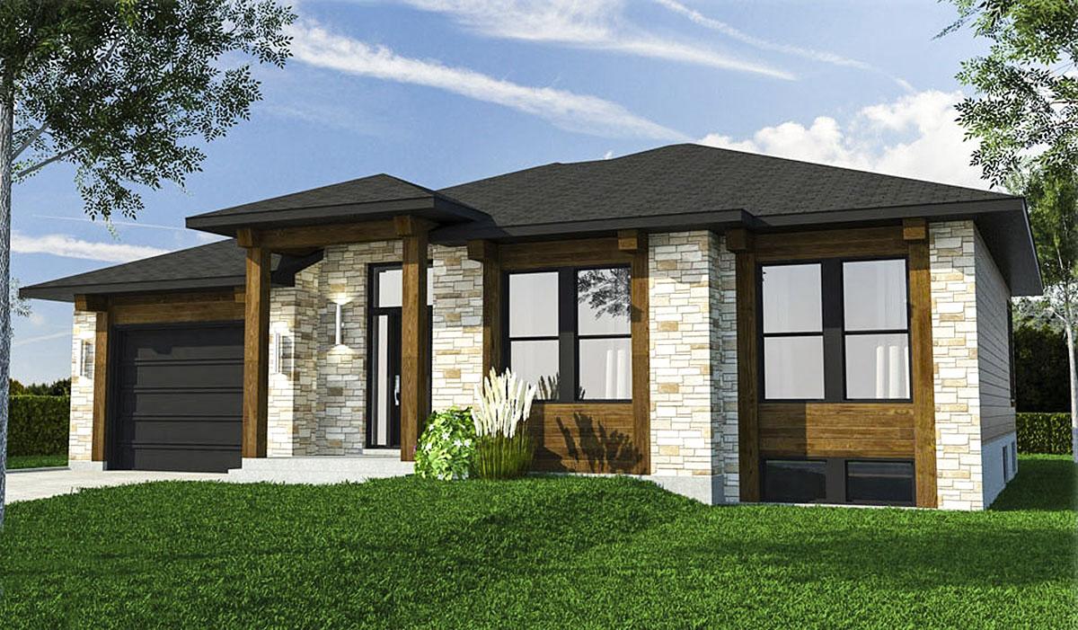 Three bedroom prairie style house plan 90309pd for Prairie house plan