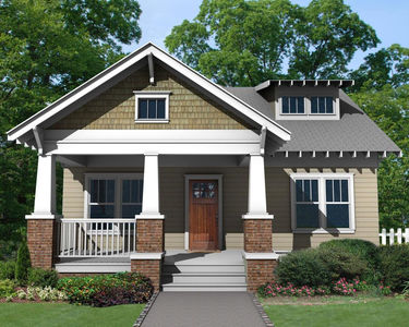 Bungalow house plan with porches front and back 50162ph for One level house plans with porch