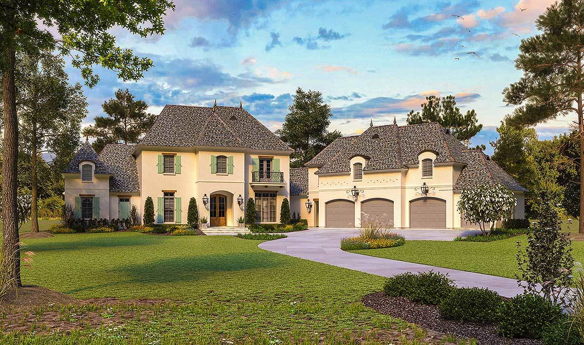 French country classic with angled garage and space above for French country home designs