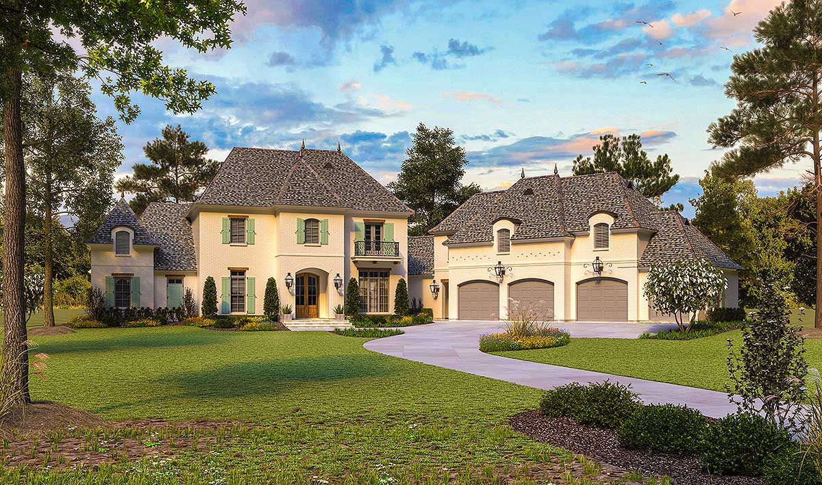 French country classic with angled garage and space above for French home designs