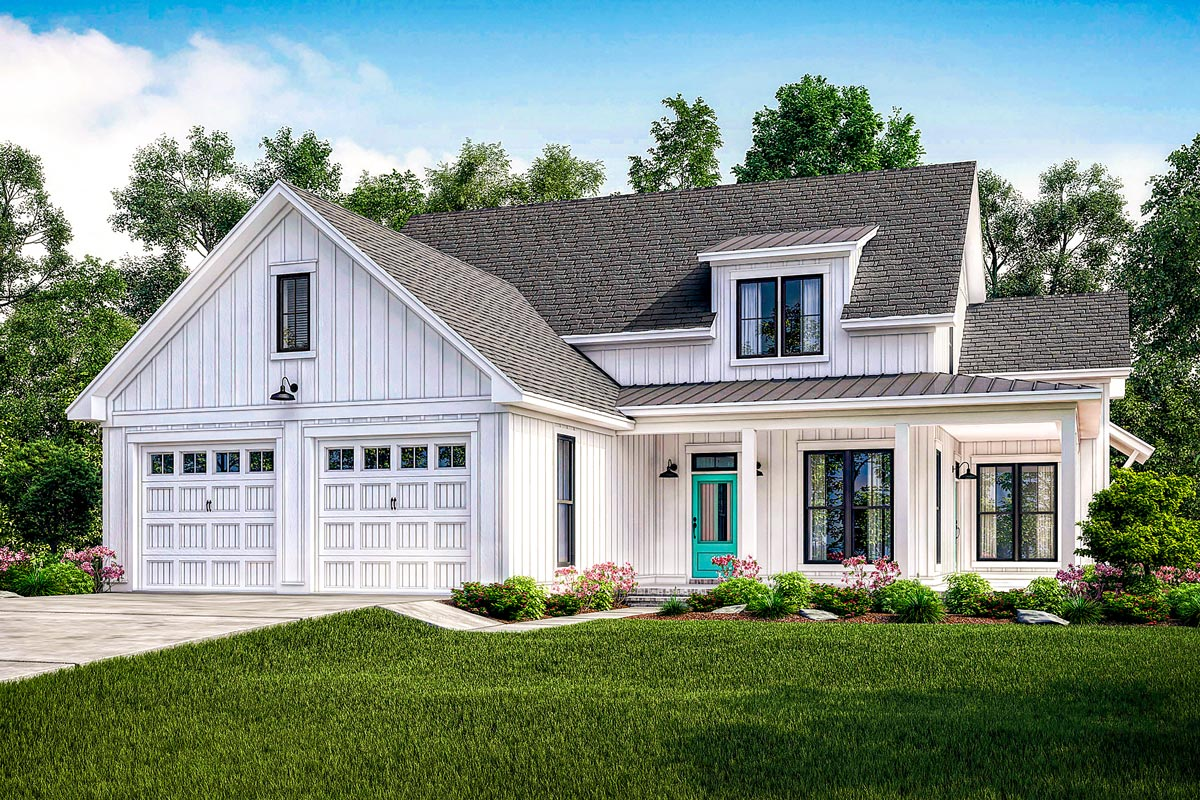 Exclusive modern farmhouse plan with flexible upstairs for Farmhouse homes
