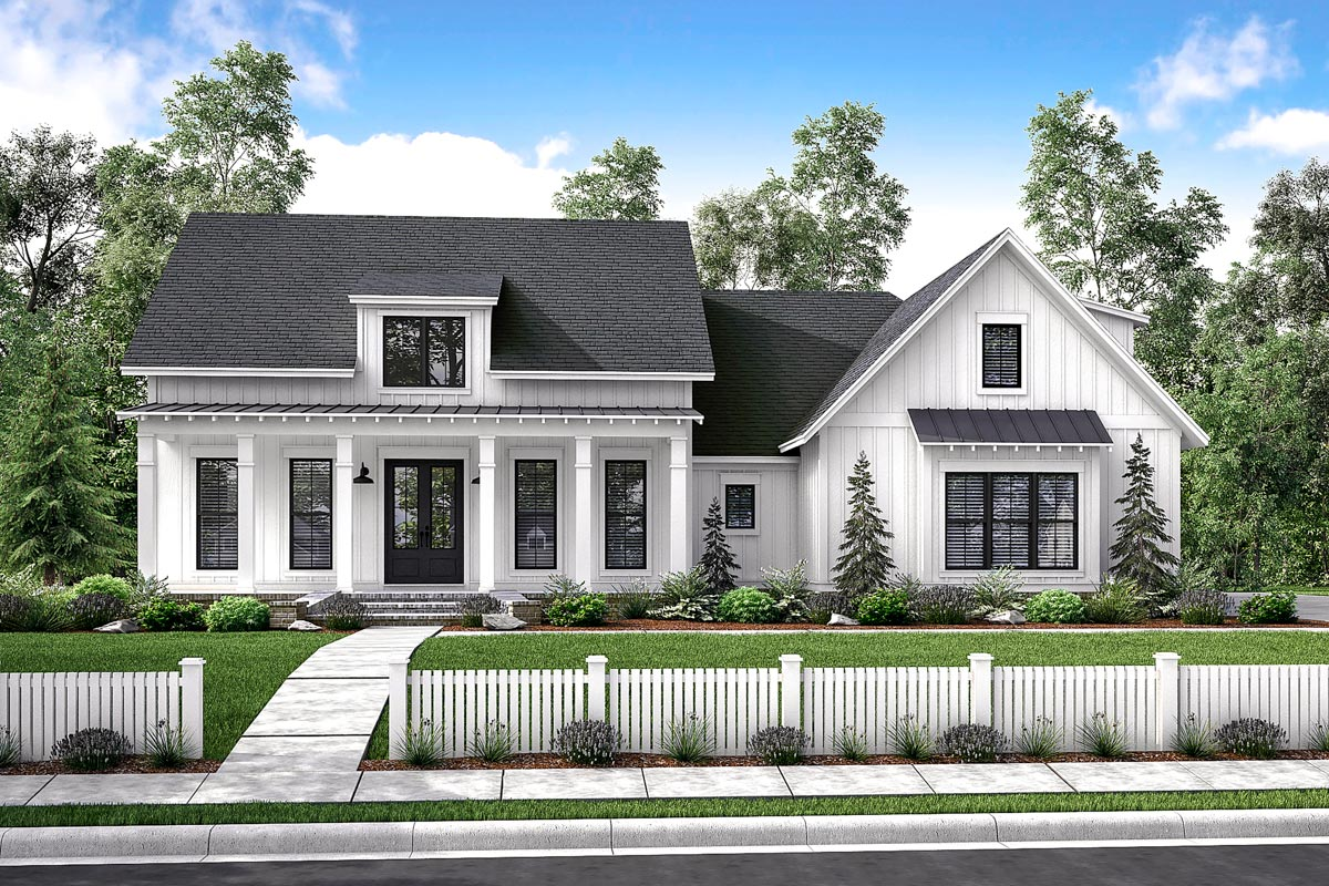 Mid size exclusive modern farmhouse plan 51766hz for Single story farmhouse