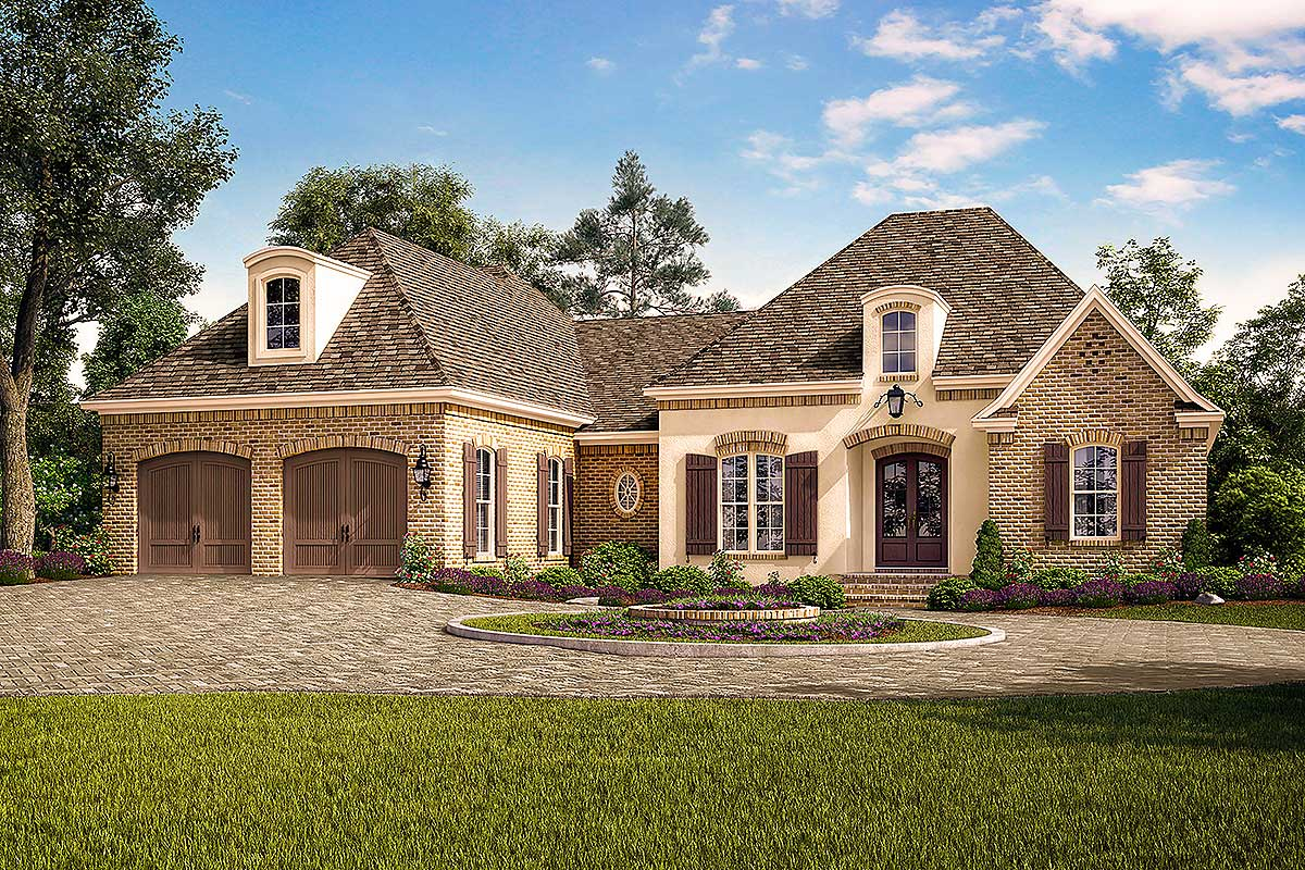 exclusive acadian french country house plan with vaulted rear porch 51767hz architectural. Black Bedroom Furniture Sets. Home Design Ideas