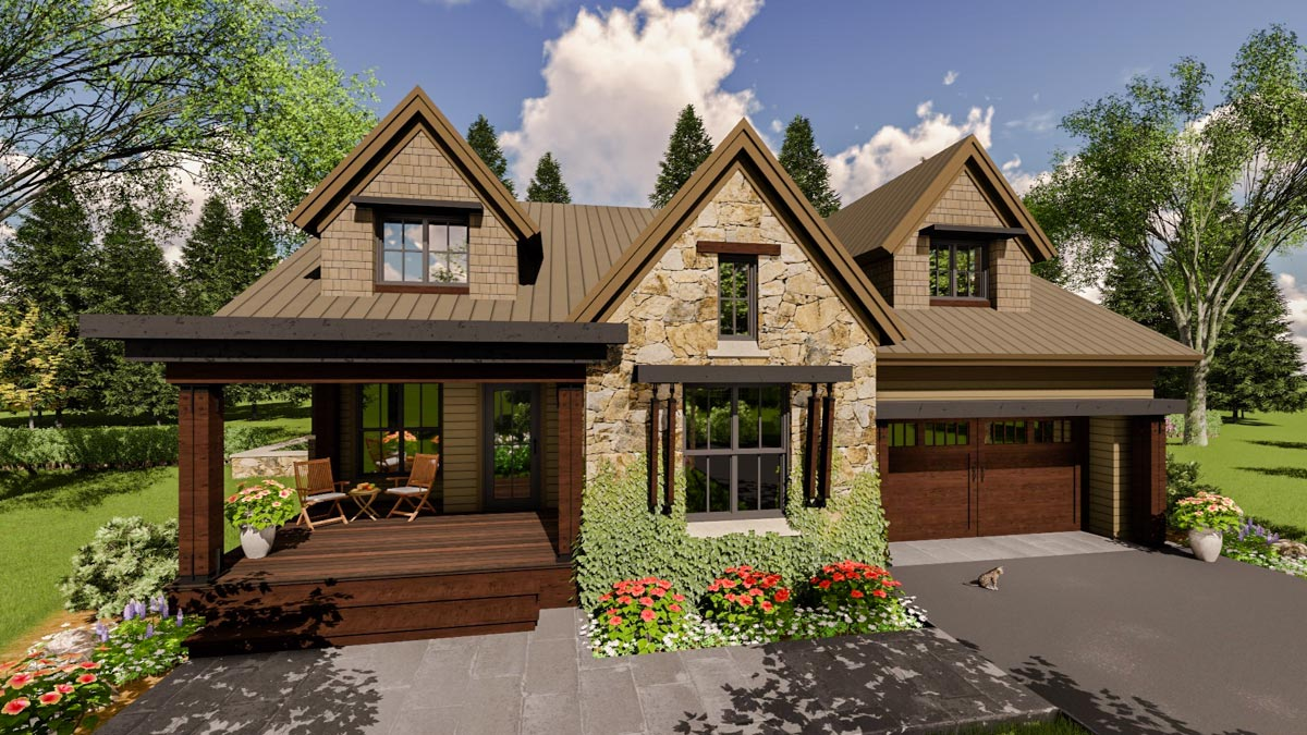 Craftsman house plan with upper level in law suite for House plans with inlaw suite