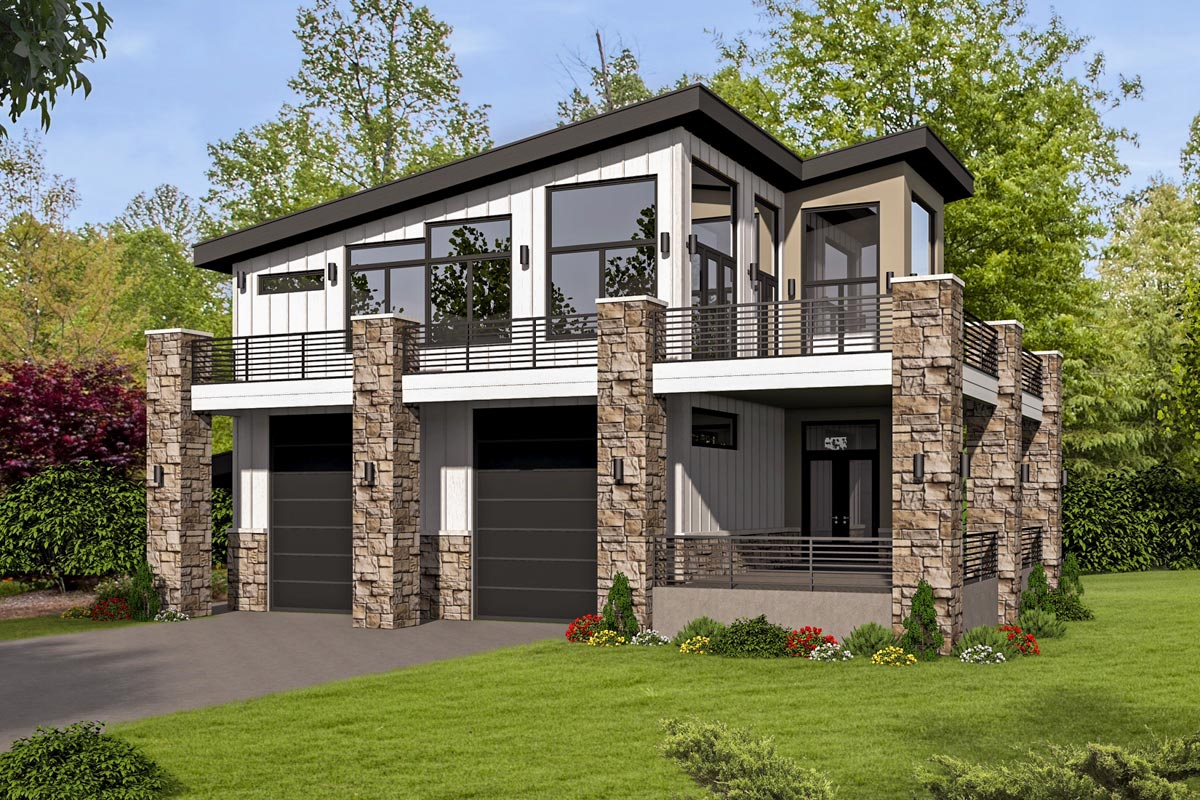 Unique contemporary home with rv bays 68496vr for Modern garage plans