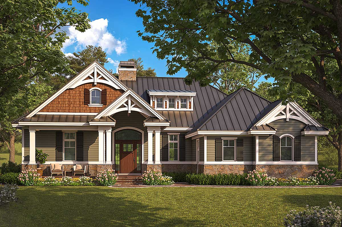 exquisite two bedroom craftsman house plan 66385we
