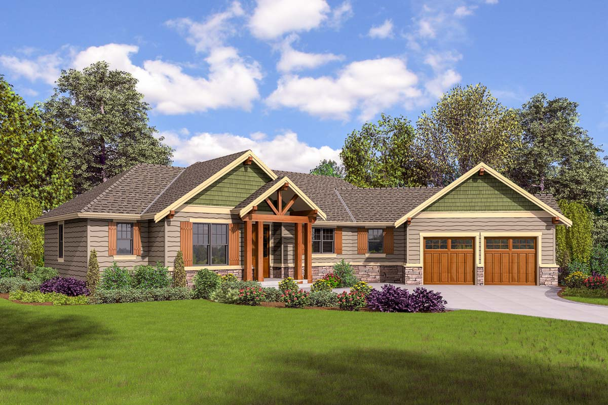 Split bedroom craftsman house plan 69651am for 4 bedroom craftsman house plans