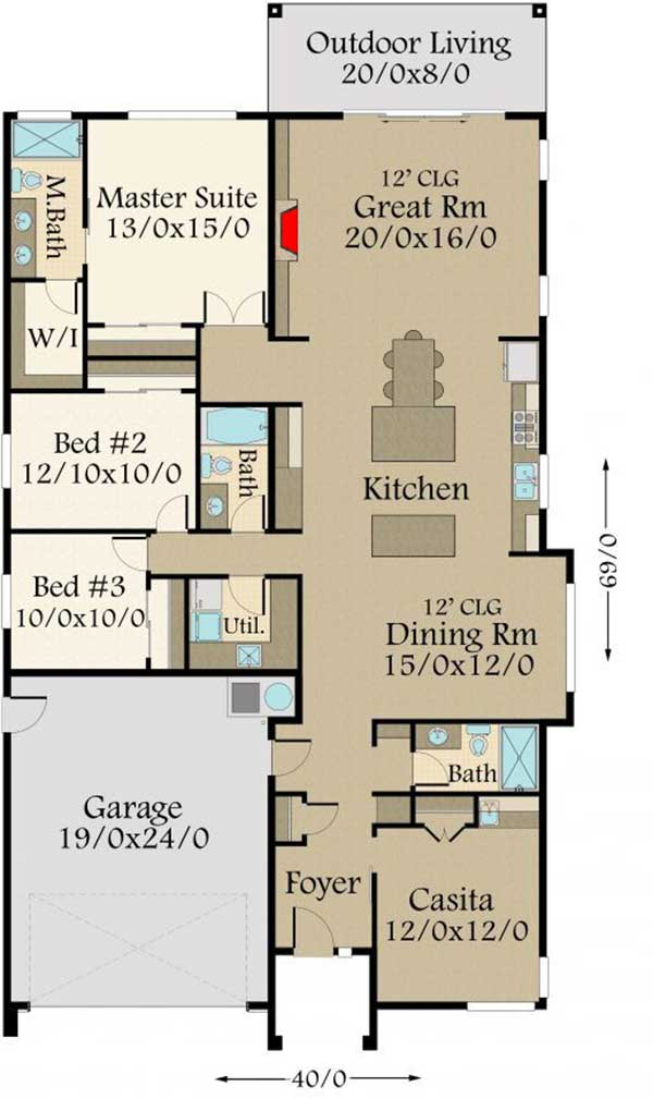 Modern House Plan with 3 Beds and Casita Makes 4 - 85198MS floor plan - Main Level